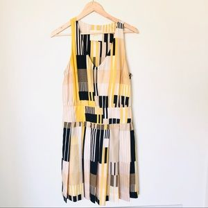 Anthropologie Maeve Otta yellow black dress silk